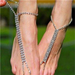 Bransoletka z kryształkami srebrna na stopę B185