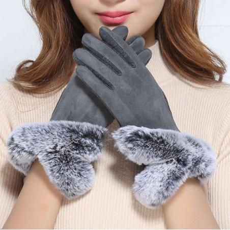 rękawiczki glam futro sztuczne materiałowe dotykowe szarość REK124