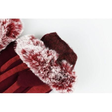 rękawiczki glam futro sztuczne materiałowe dotykowe bordo REK125