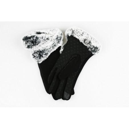 rękawiczki glam futro sztuczne materiałowe dotykowe czerń REK126