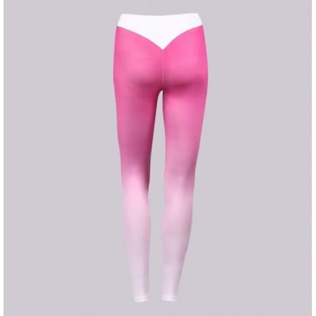 Sportowe Legginsy Fitness Trening Różowo Białe S LEG12S