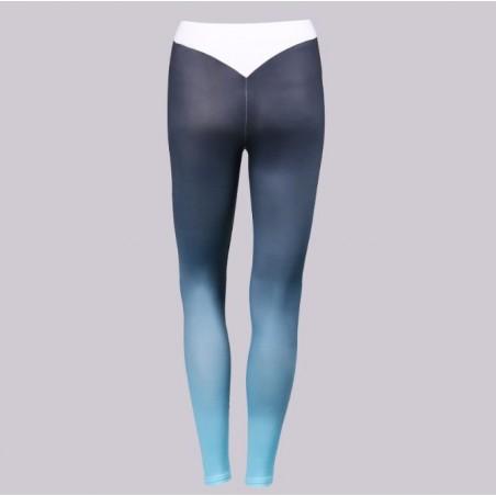 Sportowe Legginsy Fitness Trening Szaro Niebieskie M LEG13M