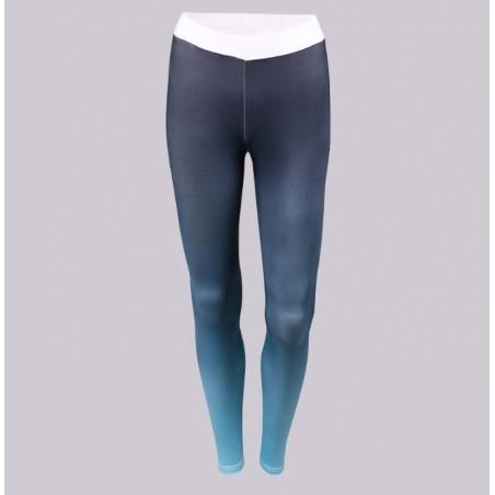Sportowe Legginsy Fitness Trening Szaro Niebieskie L LEG13L
