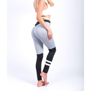 Sportowe Legginsy Fitness Trening Szaro CZARNE S LEG14S