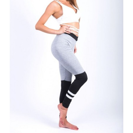 Sportowe Legginsy Fitness Trening Szaro CZARNE M LEG14M