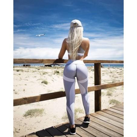 Sportowe Legginsy Fitness Trening Szare M LEG21M
