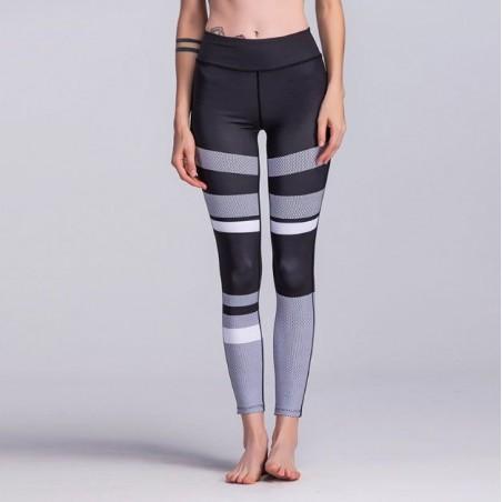 Sportowe Legginsy Fitness Trening Czarno Szare L LEG22L