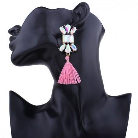 Kolczyki chwosty zdobione kryształ różowe K631R