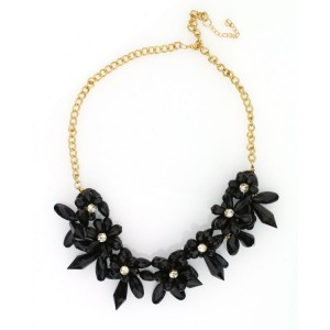 Kolia kwiaty z kryształkami  czarna N214