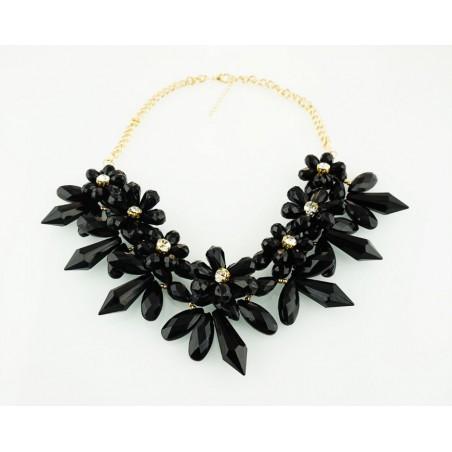 Kolia kwiaty z kryształkami w środku czarna N214