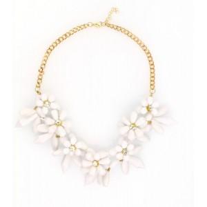 Kolia kwiaty z kryształkami biała  N214B