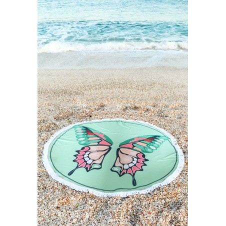 RUNDES STRANDTUCH BOHO BUTTERFLY REC28