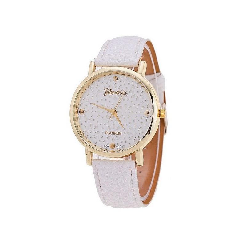 Zegarek podwójna tarcza koronka biały