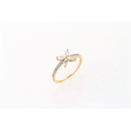 Pierścionek kryształki stal chirurgiczna platerowana złotem PST512