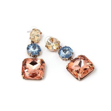Kolczyki wiszące kolorowe kryształki K997