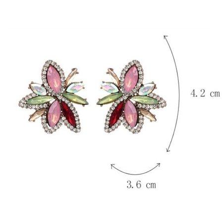 Kolczyki kryształki fuksja K1011R