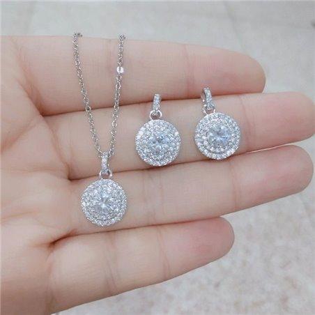 Kolczyki ślubne wiszące z kryształkami KSL04