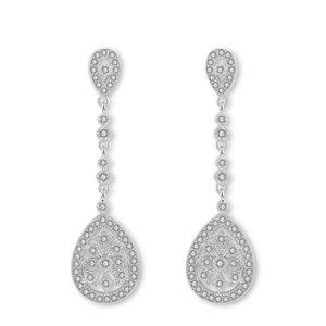 Kolczyki ślubne wiszące z kryształkami srebrne KSL08S