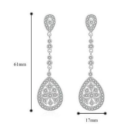 Kolczyki ślubne wiszące z kryształkami rose gold KSL08RZ