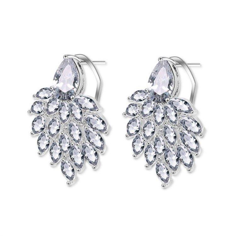 Kolczyki ślubne wiszące z kryształkami KSL09