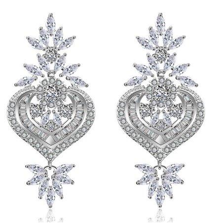 Kolczyki ślubne wiszące z kryształkami srebrne KSL17S