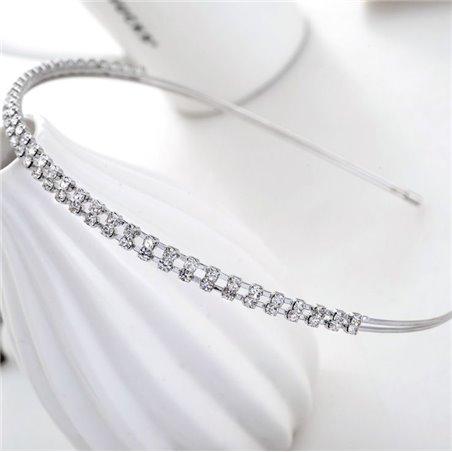 Opaska ślubna z kryształkami srebrna O135S