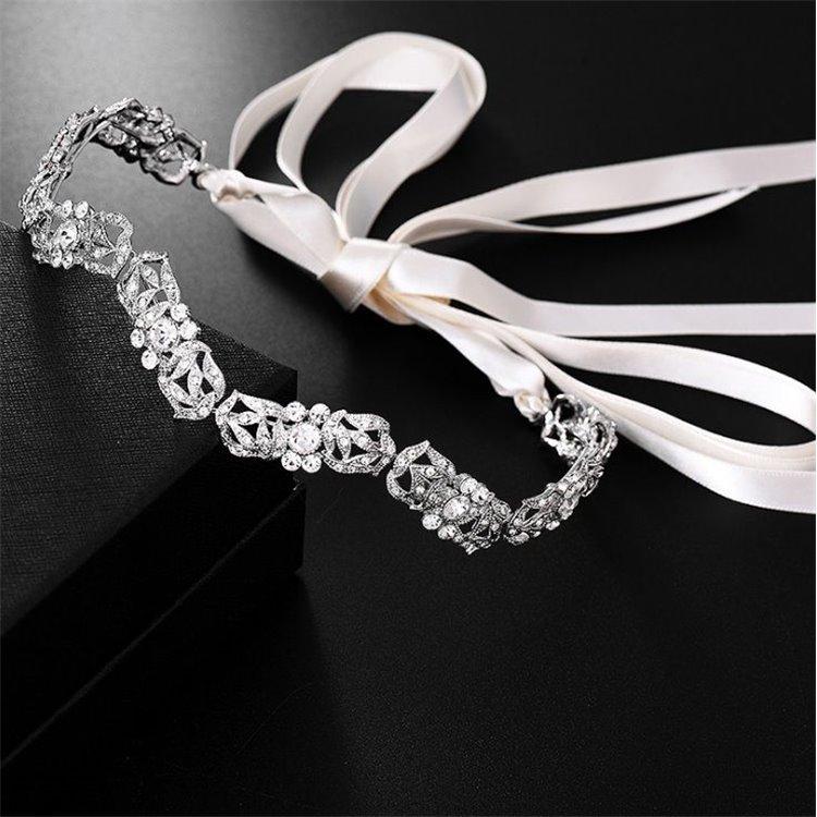 Opaska ślubna z kryształkami O144