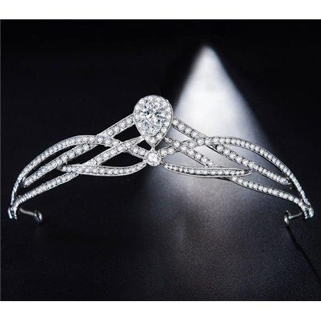 Opaska ślubna z kryształkami tiara O141