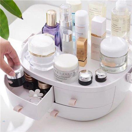 Szkatułka organizer na kosmetyki szufladki białe PD77B