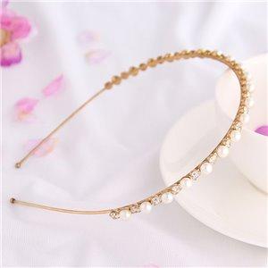 Opaska do włosów złota perełki i kryształki O162