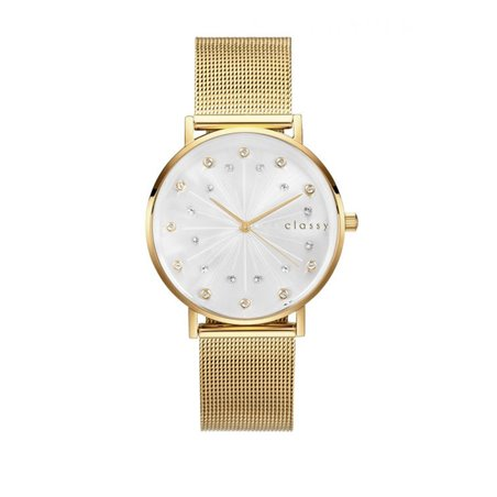 Zegarek damski classy kryształki na bransolecie złoty Z672Z