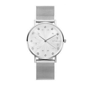 Zegarek damski classy kryształki na bransolecie srebrny Z672S