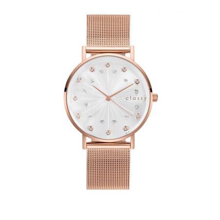 Zegarek damski classy kryształki na bransolecie różowe złoto Z672RZ