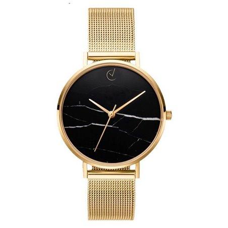 Zegarek damski classy czarny marmur na bransolecie złoty Z675Z