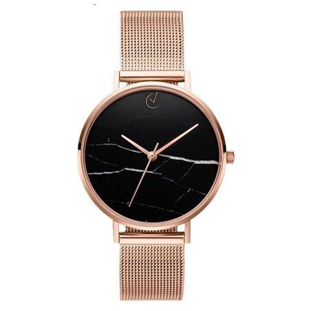 Zegarek damski classy czarny marmur na bransolecie różowe złoty Z675RZ