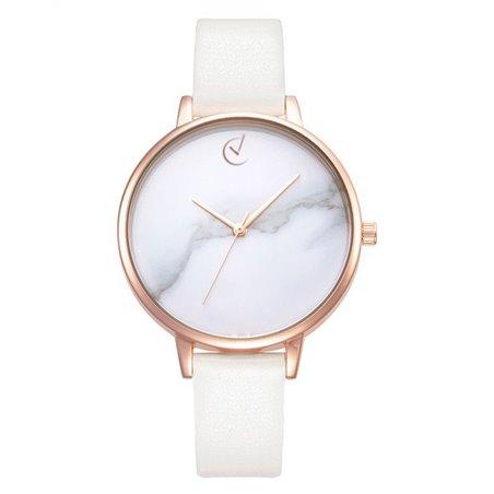 Zegarek damski classy marmur na pasku różowe złoto Z682