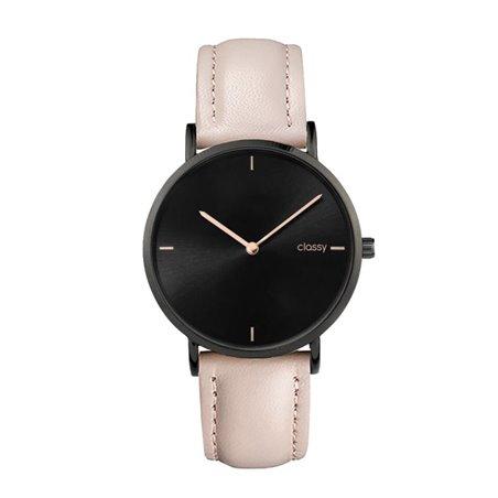 Zegarek damski classy czarny na kremowym pasku Z683K
