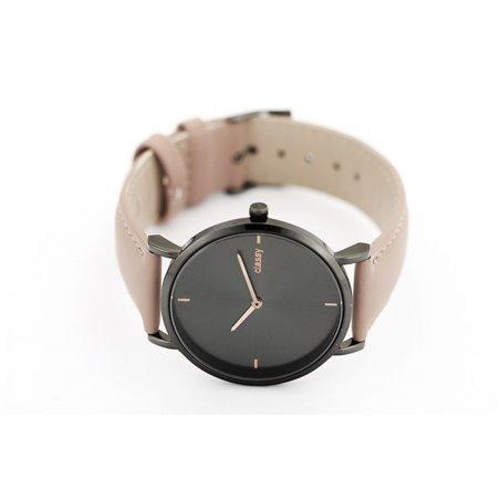 Zegarek damski classy czarny na ciemno różowym pasku Z683CR