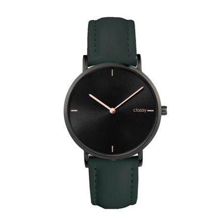 Zegarek damski classy czarny na zielonym pasku Z683ZIE