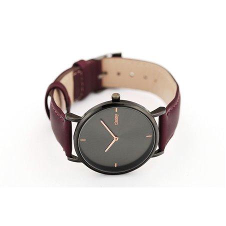 Zegarek damski classy czarny na purpurowym pasku Z683PURP