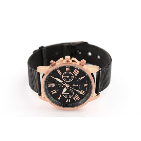 Zegarek damski classy różowe złoty na czarnej bransolecie Z681