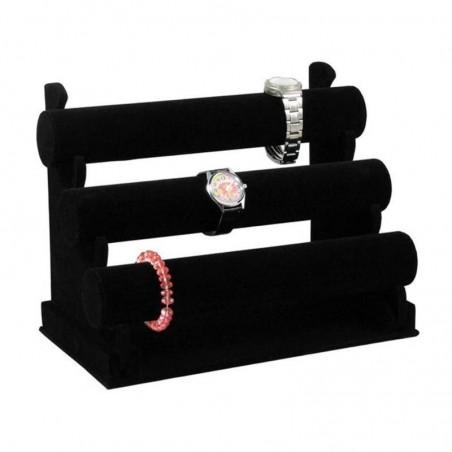 Ekspozytor potrójny, czarny na bransoletki, zegarki E21CZ