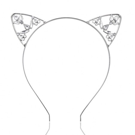 Opaska do włosów kocie uszy srebrna O155