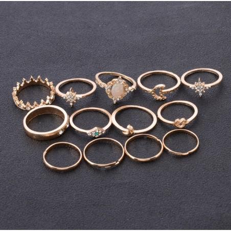 Zestaw 13 pierścionków złote PE41