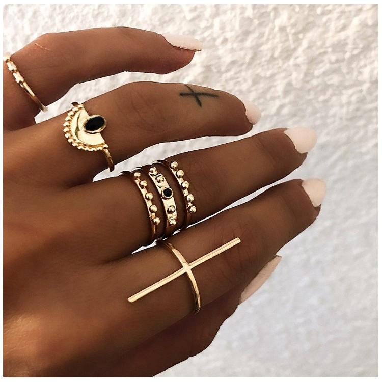 Zestaw 6 pierścionków złote PE42