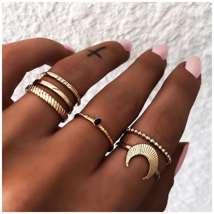Zestaw 6 pierścionków złote PE43