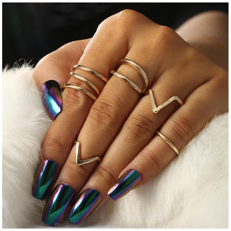 Zestaw 5 pierścionków złote PE47