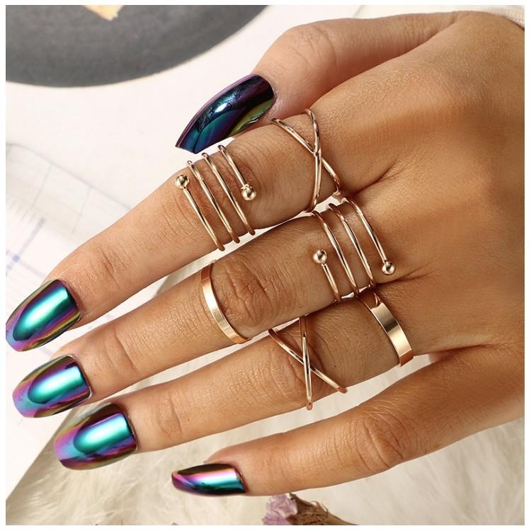 Zestaw 6 pierścionków złote PE48