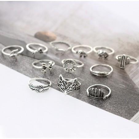 Zestaw 12 pierścionków srebrne PE49