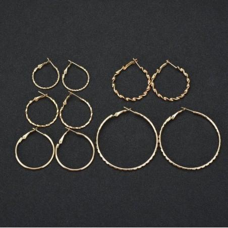 Zestaw 5 par kolczyków koła złote K1042